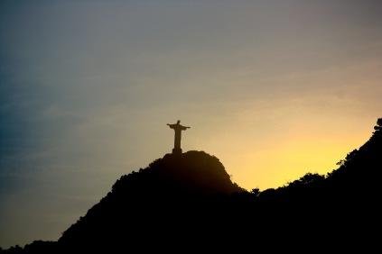 Rio de Janeiro: Cristo Redentor im Sonnenuntergang