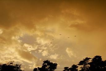 Genialer Abendhimmel vor dem Unwetter in Copán