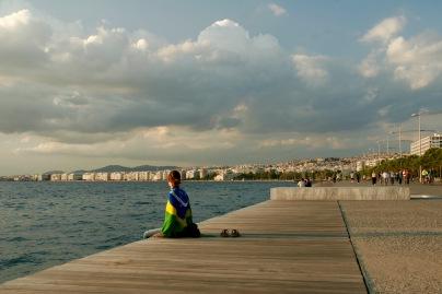 Wir warten auf den Sonnenuntergang in Thessaloniki