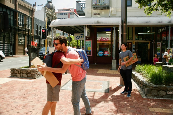 """Free Hugs"" in Wellington"