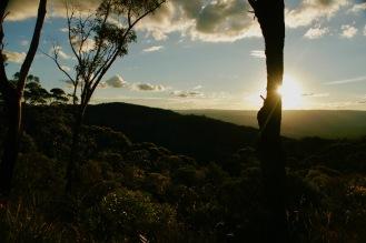 Letzte Sonnenstrahlen in den Blue Mountains