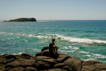 Blick über die tosenden Wellen beim Fingal Head