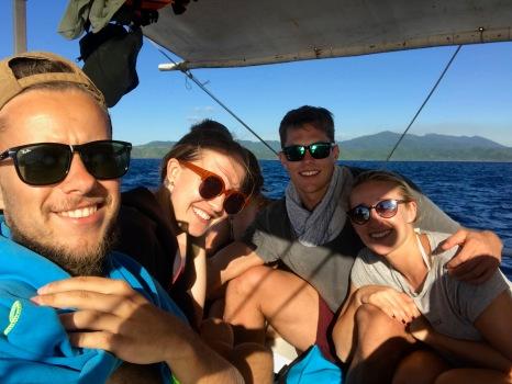 Gemeinsam auf dem Boot mit Kathi und Christopher
