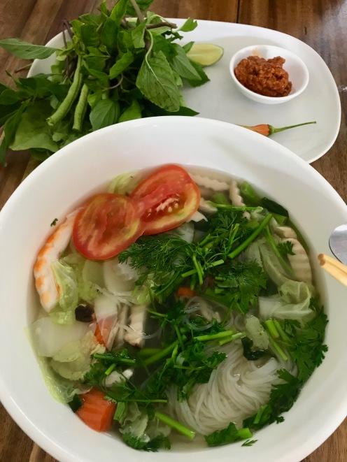 Sojaschrimps in Nudelsuppe in Vientiane