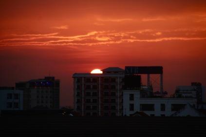 Sonnenuntergang vom Hotelbalkon in Vientiane