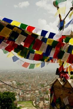 Gebetsfahnen auf dem Swayambhunath Tempel