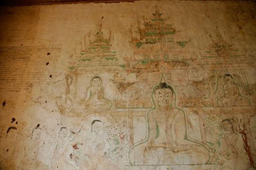 Gut erhaltende Wandmalereien im Sulamani Tempel