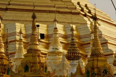 Nahaufnahme der Shwedagon Pagode
