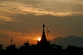 Sonnenuntergang vom Pashupatinath Tempel aus
