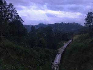 Die Bahn fährt langsam die Demodara Schleife entlang