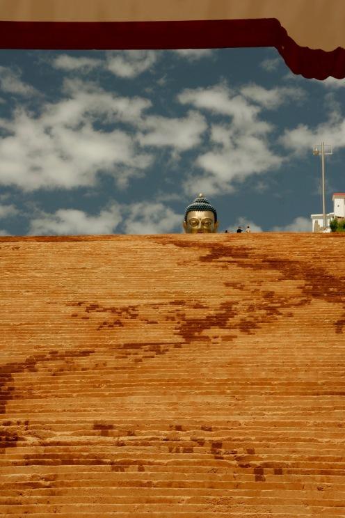 Letzter Blick zurück zum Buddha Kopf in Thimphu