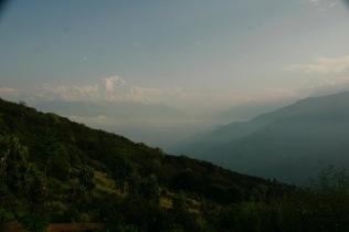 Schneebedeckter Dhaulagiri, blauer Himmel und grüner Poon Hill