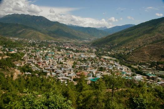 Thimphu von oben bei wunderbarem Weter