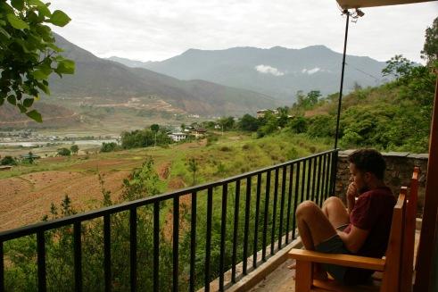 Von unserem Balkon in Punakha