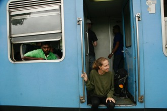 Warten auf die Weiterfahrt des Zuges