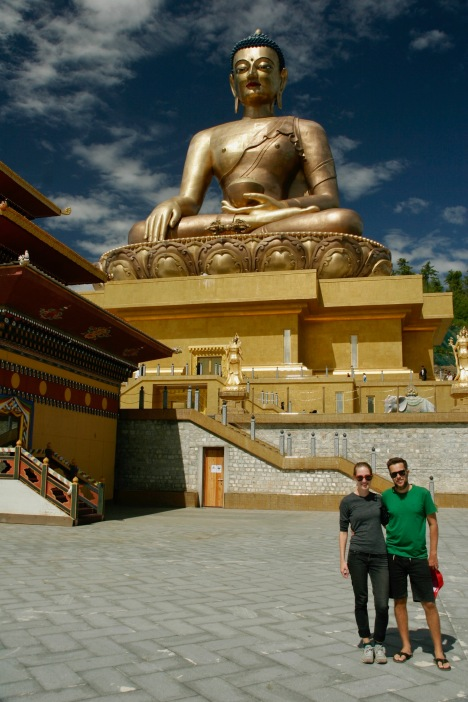 Wir zwei vorm Buddha Point in Thimphu
